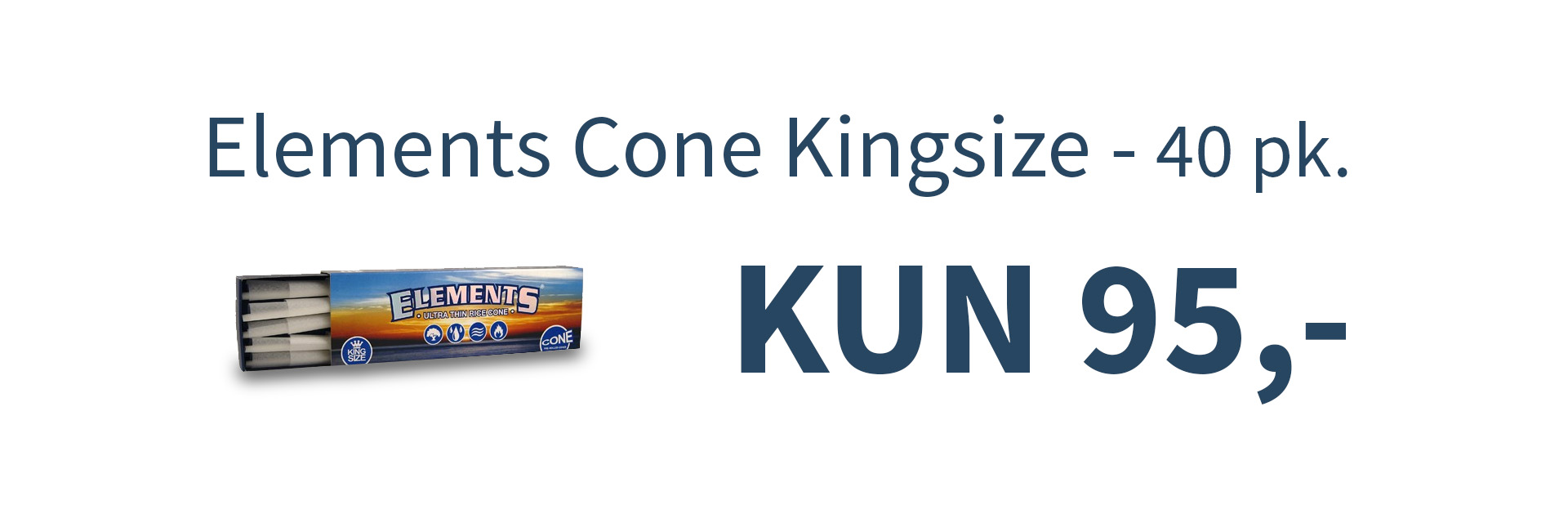 Banner: Elements Cone Kingsize - 40 pk. til kr. 95,-